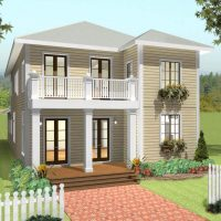 Home design with second story porch.