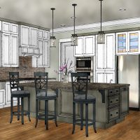 Custom kitchen interior rendering with a large center island and hardwood floors.