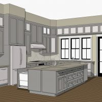 Large, l-shaped kitchen with a custom island and large windows over the sink.