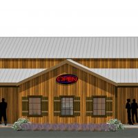 Bills Catfish and Steaks, custom steakhouse exterior rendering with log siding and decorative columns.