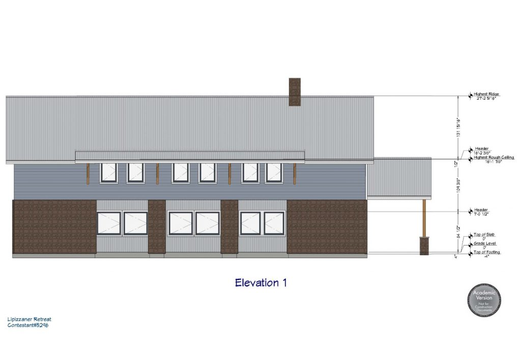 Side elevation of a barn with living quarters on the second floor.