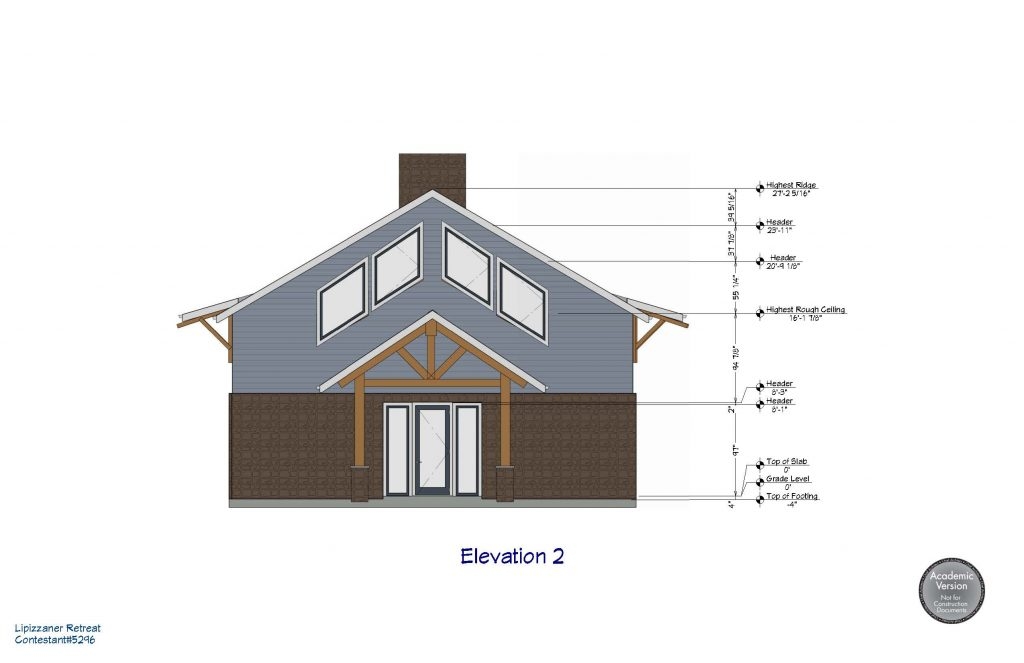 Front elevation of a barn with living quarters on the second floor.