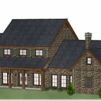 Large, two story home with brick exterior and a custom chimney.