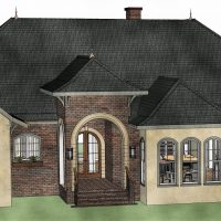 Custom, stucco home with brick accents and a large, entryway with rounded arch and doorway.