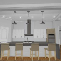 Open kitchen design with coffered ceiling, waterfall island, and pantry for storage.