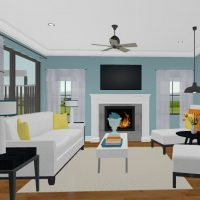 Bright living room design with a fireplace, open seating arrangement and large window letting in lots of light.