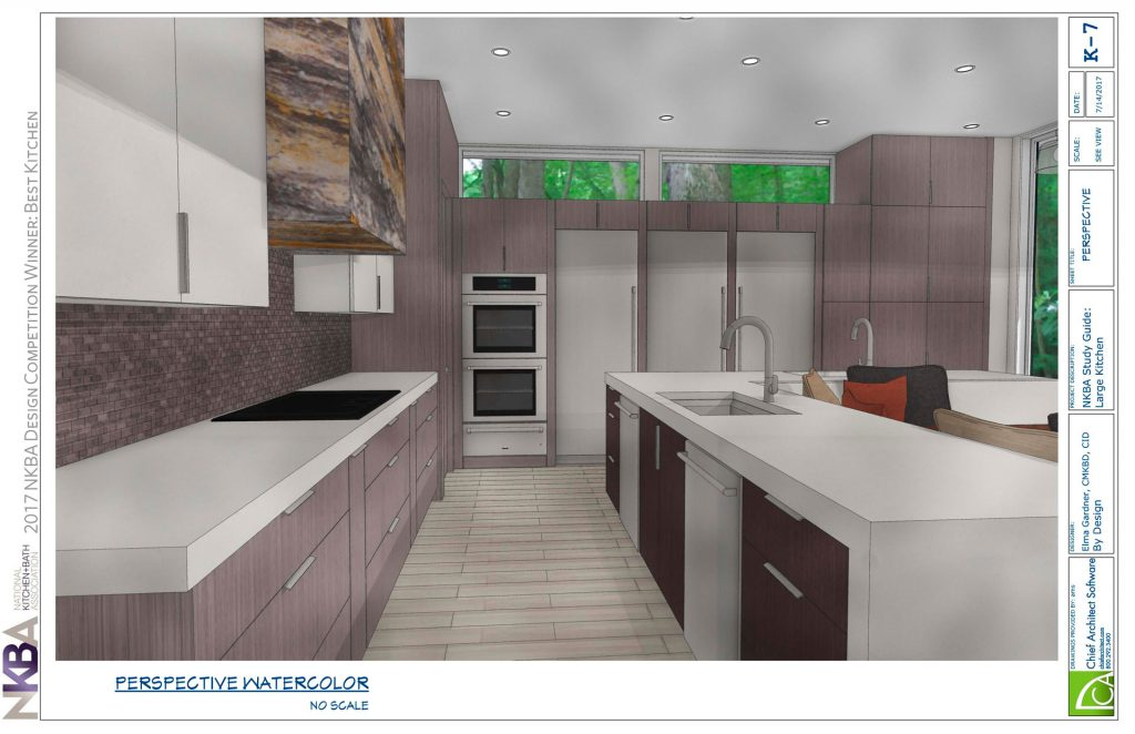 Watercolor illustration of kitchen by Elma Gardner links to full PDF of design.