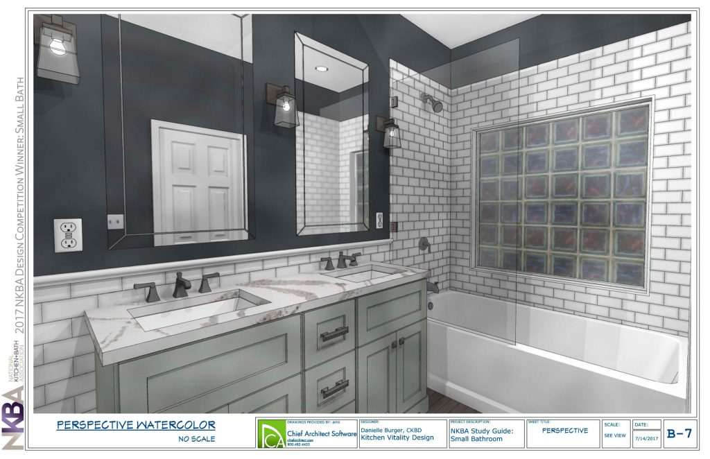 Double sink with subway tile wainscoting leading into subway tile bath with glass blocks