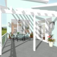Outdoor living space with pergola and dining set surrounded by potted plants.