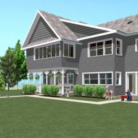 Two story home design with gray shingle siding, and white trim.