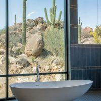 freestanding tub with full height window