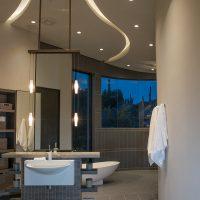 intricate ceiling lighting in spa bath