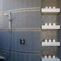 shower niche with candles