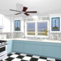 Blue and White kitchen with a tiled backsplash and checkered flooring.