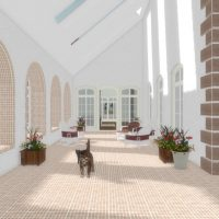 Outdoor courtyard with arched pass throughs, skylights, and ample seating.