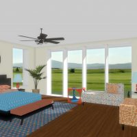 Bedroom with floor to ceiling windows, a ceiling fan and seating area.