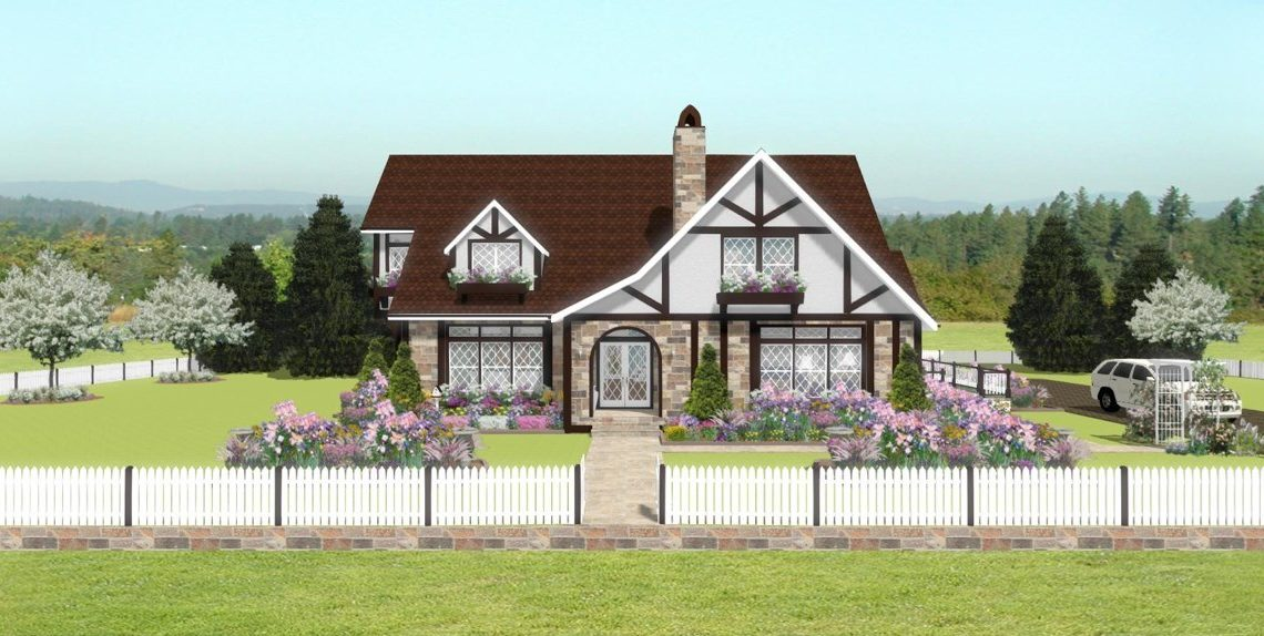 Victorian home design with brick siding, dormers, and picket fence.