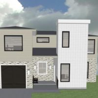 Modern two story home design with single car garage and covered porch,.