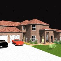 Night view of a two story home design with double car garage and grand entry.