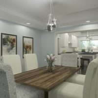 Home design with a formal dining room connected to the kitchen, designed in Chief Architect Software.