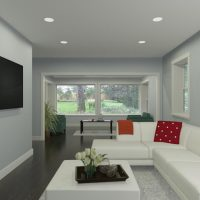 Home design featuring a bright family tv room and seating area, designed in Chief Architect Software.