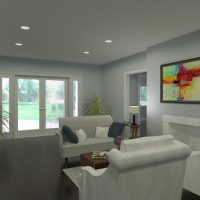 Home design featuring a formal living room with a fireplace, designed in Chief Architect Software.