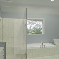 Home design featuring a primary bathroom with dual vanities and glass shower, designed in Chief Architect Software.