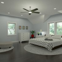 Home design featuring a primary bedroom with custom ceilings and reading nook, designed in Chief Architect Software.