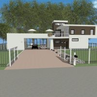 Modern two story home design with a roof top deck and extended covered parking.