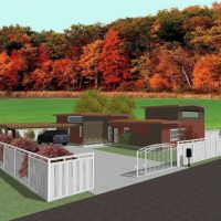 Modern home design with car port and privacy fence.