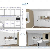 White kitchen design renderings and elevation view illustrating the custom kitchen design.