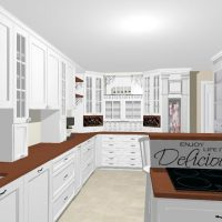 White kitchen design with lots of storage.