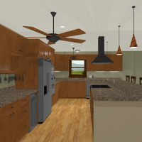 Large kitchen design with large island, granite countertops, and hardwood floors.