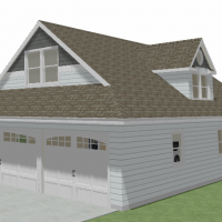 Large, white cottage home with a three-car garage, dutch gable roof and a gable dormer.