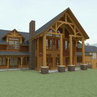 Timber frame home with exposed beams and exterior details.