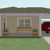 Small living unit with a covered patio and decorative landscaping.