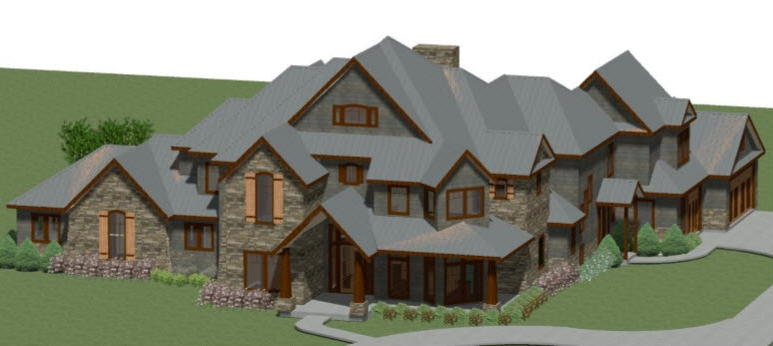 This home is to be constructed in Wisconsin. The client wanted a Craftsman-style residence with two owner's suites, a home theater, wine room, two utility rooms, and a total of five bedrooms.