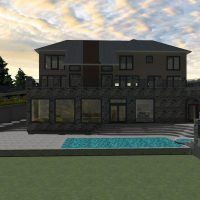 Clerestory home design with an outdoor swimming pool, elegant stairs and large windows.