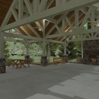 Pavilion with detailed truss work and exposed beams