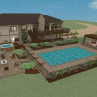 Large house rendering with beautifully landscaped terrain and below-ground swimming pool