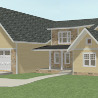 Large, two-story house with a two-car garage and living area above, front porch with a shed roof, and brick detail.