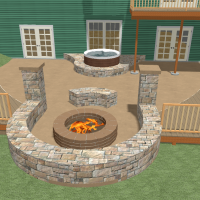 Custom outdoor patio with a rock fireplace and built-in sauna for a walkout basement.