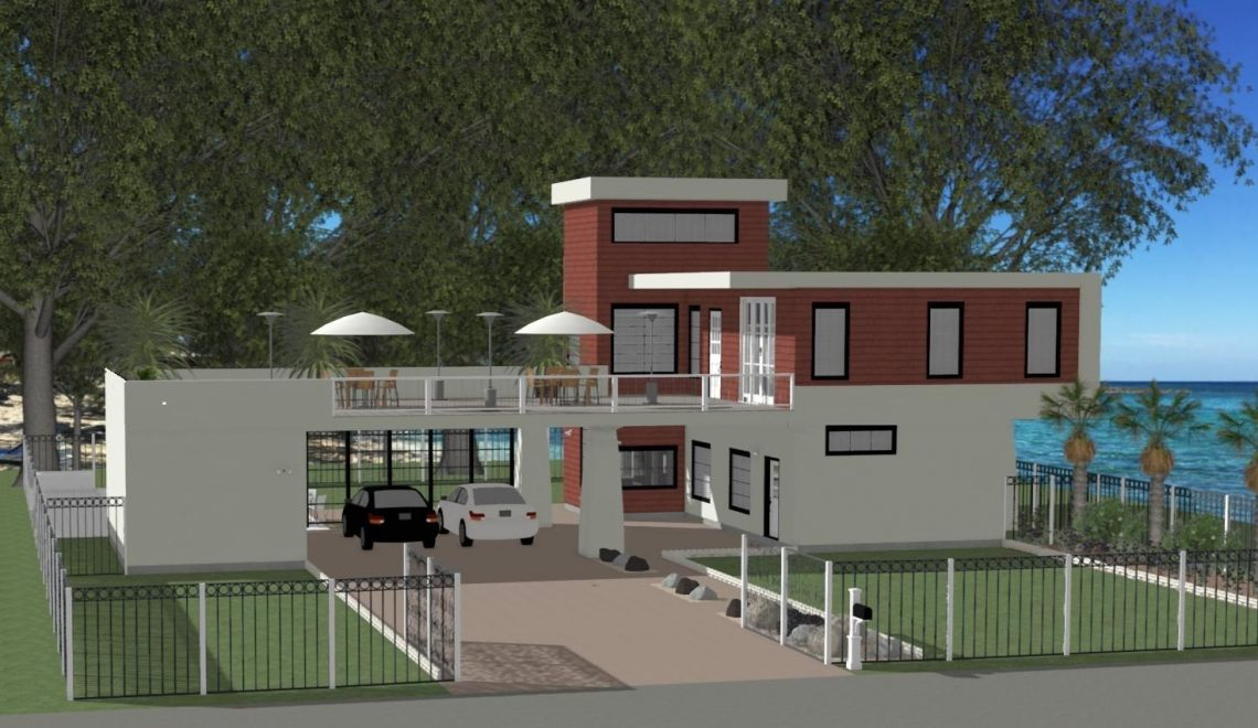 This residential home design offers an oversized upstairs patio area, outside storage to the right of the parking spaces, two beds, three baths, and a separate utility room. The downstairs area is an open-concept layout with a generously sized living room, kitchen and full bath.