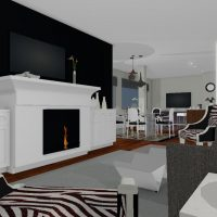 Functional living room design with large marble fireplace and hardwood floors.