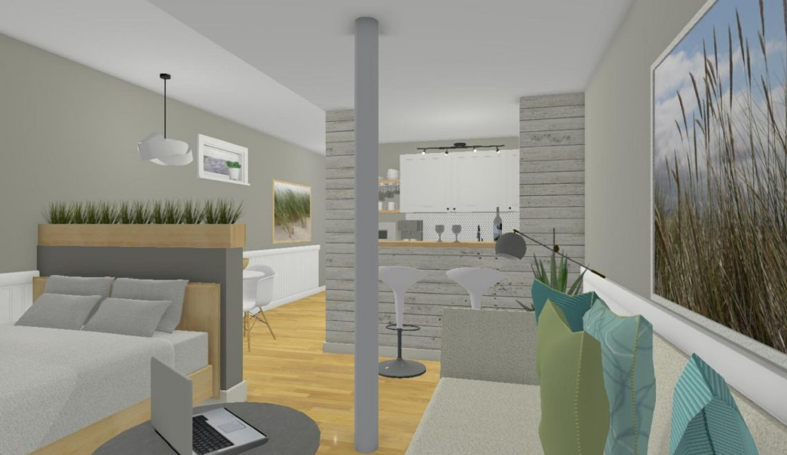 This Airbnb is located in a basement that used to be very small and dark in a residential home that had previously been a rooming house (5 kitchens, anyone). The home is located in a trendy part of Toronto, close to several large film studios, upscale restaurants and boutiques. I had to plan a layout for an awkward space since there was a support pillar in the middle of the main area, as well as one in the bathroom and several levels of bulkheads. The homeowners wanted this to be a relatively affordable renovation since they plan to renovate the entire house a few years down the road. I had to make space for a welcoming entry area with storage, revamp the kitchenette (to which I added a 2 seater bar), create a dining area that was separate from the main living area and create a space for a double bed that wasn't the first thing you saw when you entered the space. The bathroom was revamped a little as well, with a new shower, flooring, toilet and vanity.