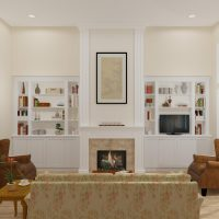 Large living room design with custom fireplace and mantel and large book cases.