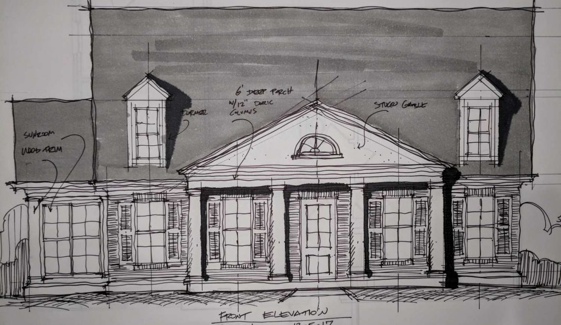 Robert Padgett's hand drawn elevation view of a home design.