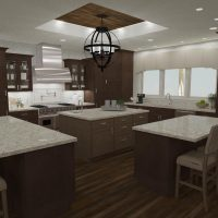 Open kitchen with multiple island work spaces and a custom ceiling.