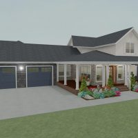 Large ranch home design with three-car garage and wrap-around porch.