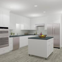 Large kitchen design with custom island and white cabinets.